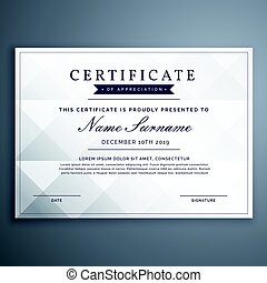 clean white diploma or achievement certificate design template