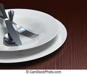 Clean white dishes & cutlery on dark woodgrain table
