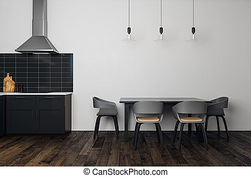 Clean white kitchen interior