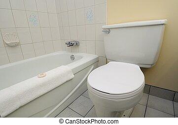 Clean white toilet and bathtub - Bright white clean toilet ...