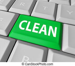 Clean Word Green Computer Keyboard Button Safe Website Anti...