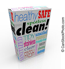 Clean Word Product Box Package Safe Healthy Pure Sanitized