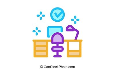 clean working room Icon Animation. color clean working room animated icon on white background