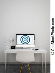 clean workspace with bullseye on computer screen
