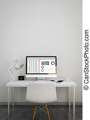 clean workspace with spreadsheet on screen. 3d illustration.