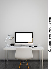 clean workspace with white screen. 3d illustration.