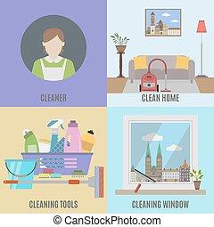 cleane, redskapen, rensning, service
