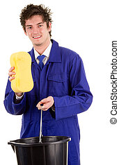 Cleaner - A man with a bucket and a sponge, isolated on ...