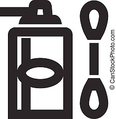 Cleaner bottle and q-tip icon in thick outline style. Black ...
