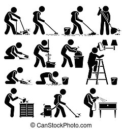 Set of vector stick man pictogram representing cleaner washing and mopping floor, wall, wiping dust, vacuuming, packing rubbishes, and sanitizing with various equipment such as broomstick, mop, cloth, water, brush, and spray.