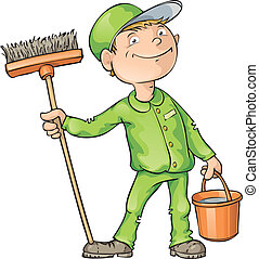 Cleaner holding a brush and a bucket. Editable vector EPS 8 file.