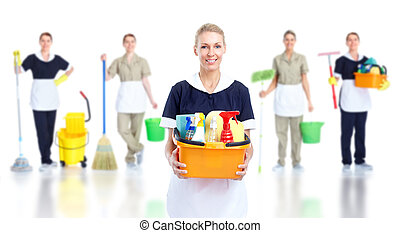 Cleaner maid woman group. Isolated on white background..
