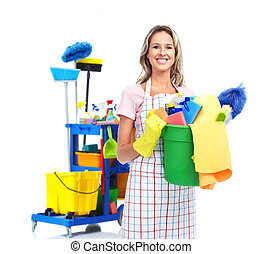 Cleaner maid woman. - Cleaner maid woman with janitor cart....
