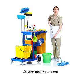 Cleaner maid woman. - Cleaner maid woman with mop and...