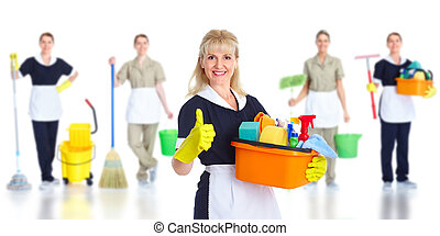 Cleaner maid woman. Isolated on white background..