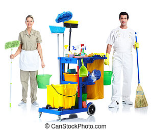 Cleaner man and woman. - Professional cleaner man and woman...