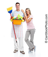 Cleaner man and woman. - Smiling cleaner man and woman....
