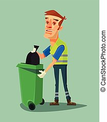 Cleaner man character. Vector flat cartoon illustration