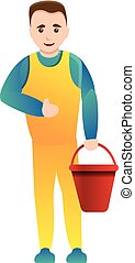 Cleaner man with red bucket icon, cartoon style