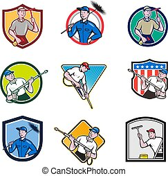cleaner-worker-icon-cartoon-set