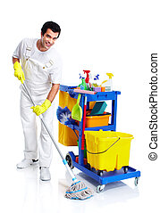Cleaner. - Young smiling cleaner. Isolated over white ...