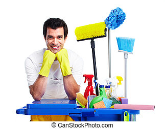 Young smiling cleaner. Isolated over white background.