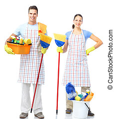 Cleaners. - Cleaners man and woman . Isolated over white...