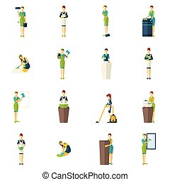 Cleaners Color Flat Icons Set - People involved the cleaning...