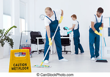 Cleaners during work