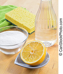 cleaners., lemon., natural, soda, vinagre, assando, sal