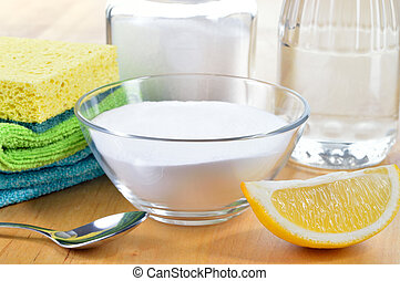 cleaners., lemon., natural, soda, vinagre, assando, sal