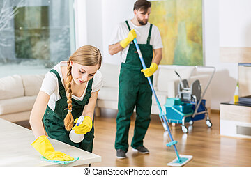 Cleaners putting in order dirty apartment - Young...