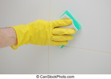 Cleaning a bathroom