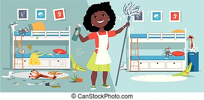 Cleaning a child's room