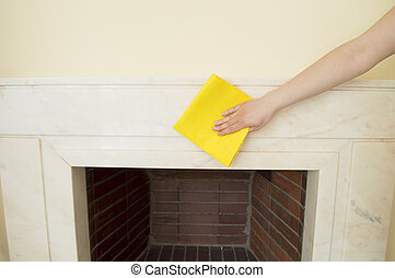 cleaning a marble fireplace