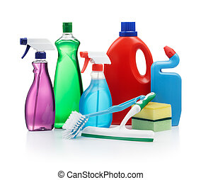 cleaning agent - variety of cleaning products on white...