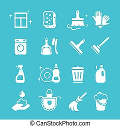Cleaning and higiene white Icons Vector set - Cleaning white...