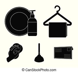 Cleaning and maid black icons in set collection for design....