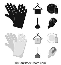Cleaning and maid black,monochrom icons in set collection...