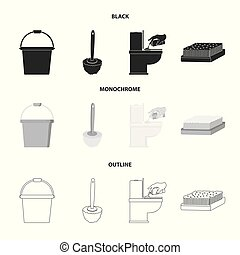 Cleaning and maid black,monochrome,outline icons in set...