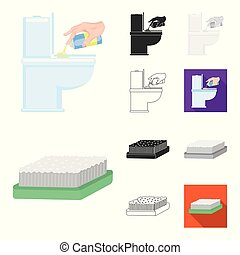 Cleaning and maid cartoon, black, flat, monochrome, outline icons in set collection for design. Equipment for cleaning vector symbol stock web illustration.