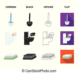 Cleaning and maid cartoon, black, outline, flat icons in set collection for design. Equipment for cleaning vector symbol stock web illustration.