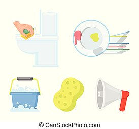 Cleaning and maid cartoon icons in set collection for...
