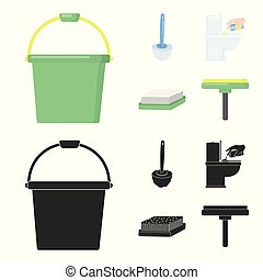 Cleaning and maid cartoon,black icons in set collection for...