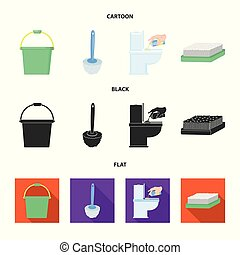 Cleaning and maid cartoon,black,flat icons in set collection...