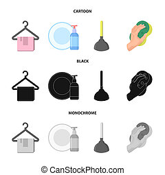 Cleaning and maid cartoon,black,monochrome icons in set...