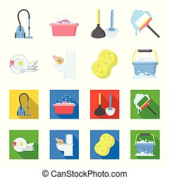 Cleaning and maid cartoon,flat icons in set collection for...
