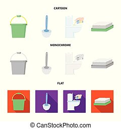 Cleaning and maid cartoon,flat,monochrome icons in set...