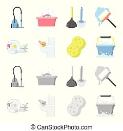 Cleaning and maid cartoon,monochrome icons in set collection...