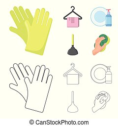 Cleaning and maid cartoon,outline icons in set collection...